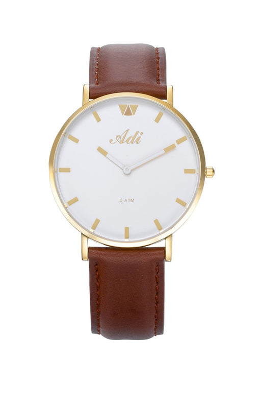 ADI Women's Watch Gold & White with Brown Leather Strap