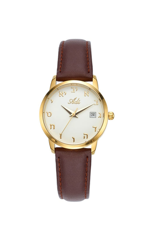ADI Women's Gold & White Watch with Hebrew Numerals