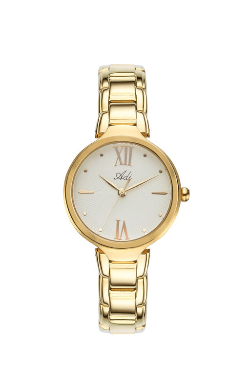 ADI Women's Gold-Plated Stainless Steel Watch with Roman Numerals