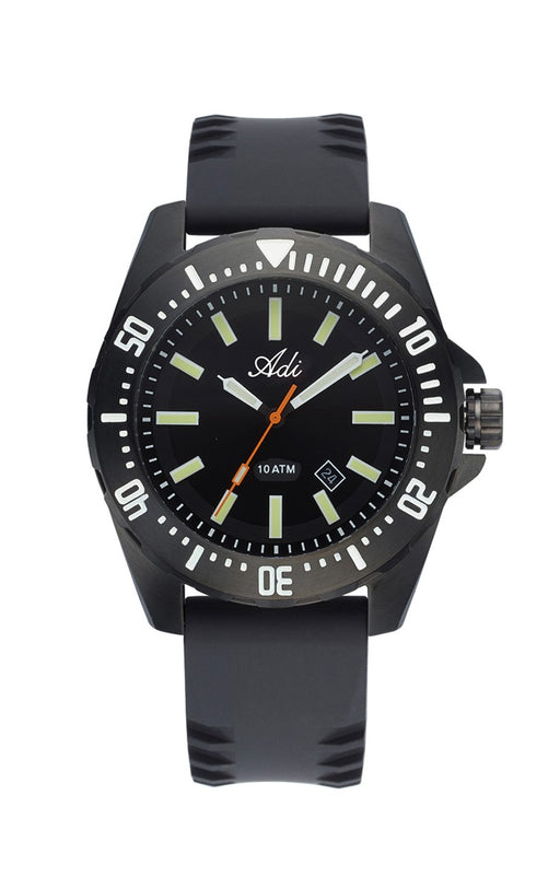 ADI Men's Watch Black Dial with Silicone Strap