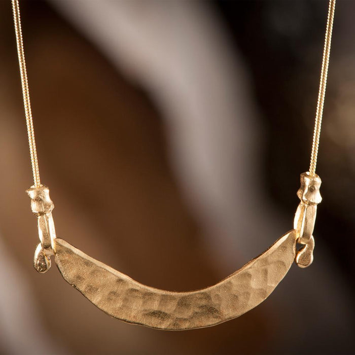 Hammered Gold Plated Harp Necklace