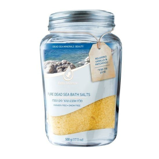 Extra Mineral Pure Mineral Dead Sea Bath Salts - Stress Relief - Relaxing Vanilla & Patchouli Scented
