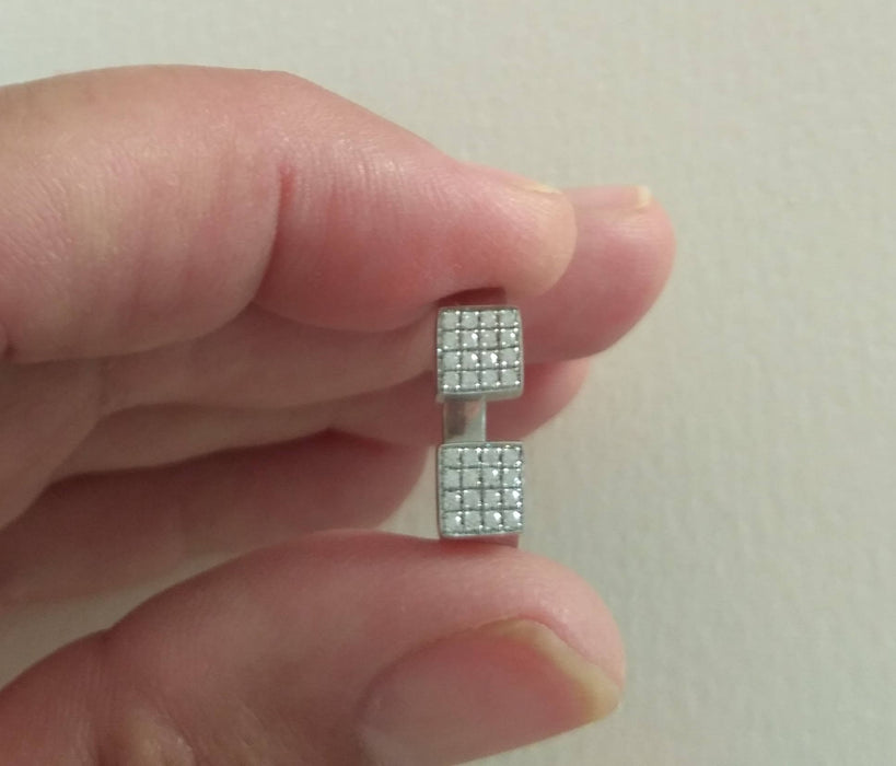 Dual Open Square Ring, 925 Sterling Silver with White Zircons
