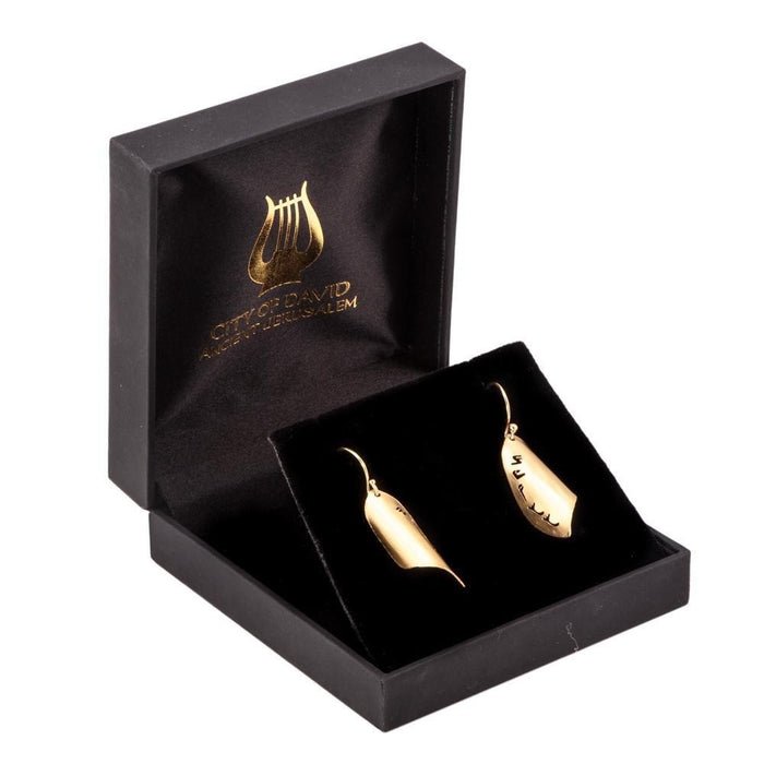 Priestly Blessing Hanging Earrings, 18K Gold Plated Silver