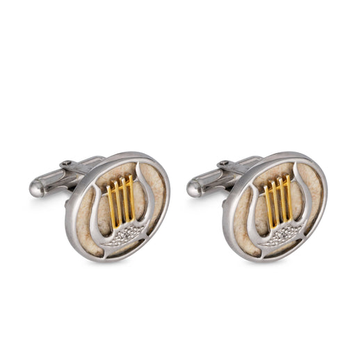 Gold Plated Silver and Jerusalem Stone Harp of David Cufflinks