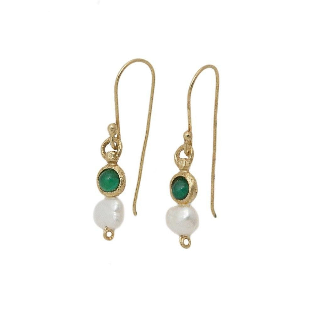 Queen Helene Dangle Earrings, 14K Gold with Pearl & Agate