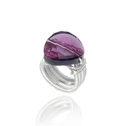 Amethyst Ring - Wire-Wrapped 925 Sterling Silver