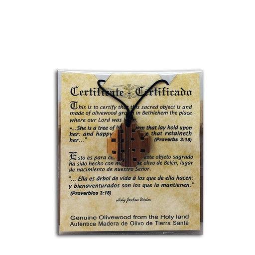 Grown Olive Wood Jerusalem Cross Necklace - with Certificate of Authenticity