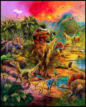 'Wild Dinosaurs' Extra Large Panel