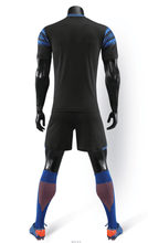 Load image into Gallery viewer, Full Football Kit -Black with Blue trim.
