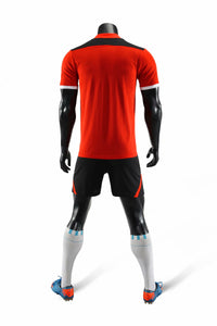 Full Football Kit - Red with Black V Detail and Shorts.