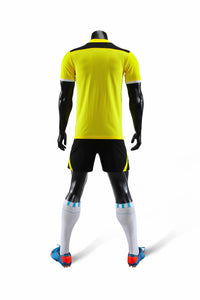 Full Football Kit - Yellow with Black V Detail and Shorts.
