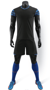 Full Football Kit -Black with Blue trim.