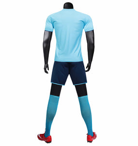 Full Football Kit - Baby Blue with Lightening Stripe.