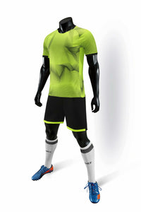Full Football Kit - 3D Graphic Neon Green Design with Black Shorts