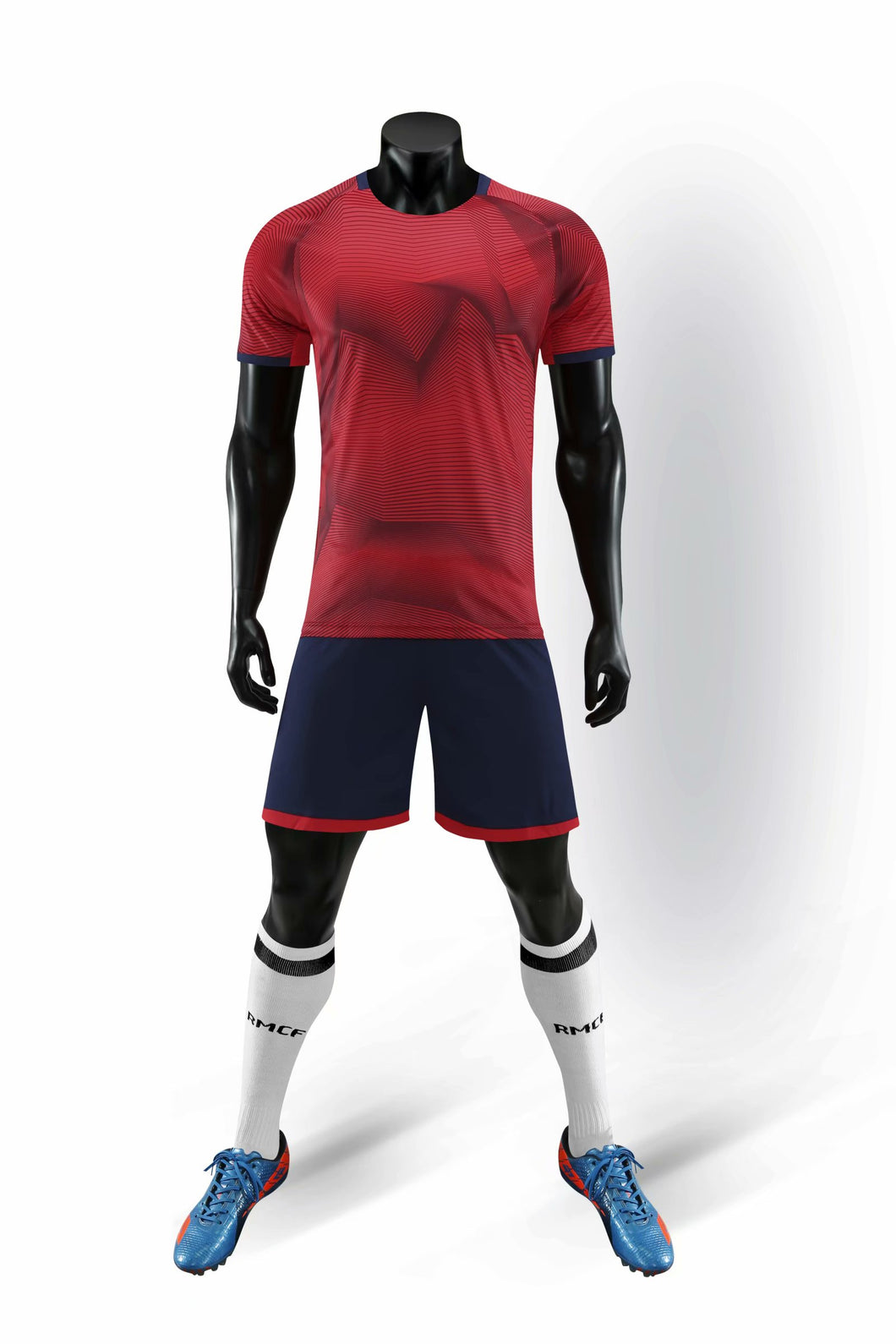 Full Football Kit - 3D Graphic Red Design with Black Shorts.
