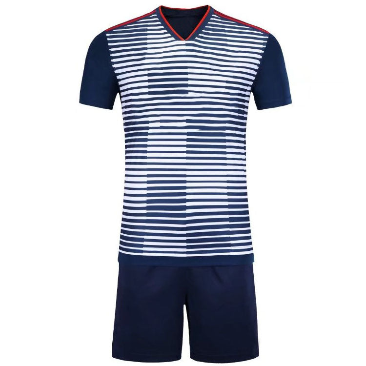 Full Football Kit -  White and Blue 3D Line and Check Stripe Design