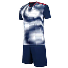 Load image into Gallery viewer, Full Football Kit -  White and Blue 3D Line and Check Stripe Design