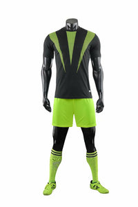 Full Football Kit - Black with Neon Green 3 Stripe Design and Shorts.
