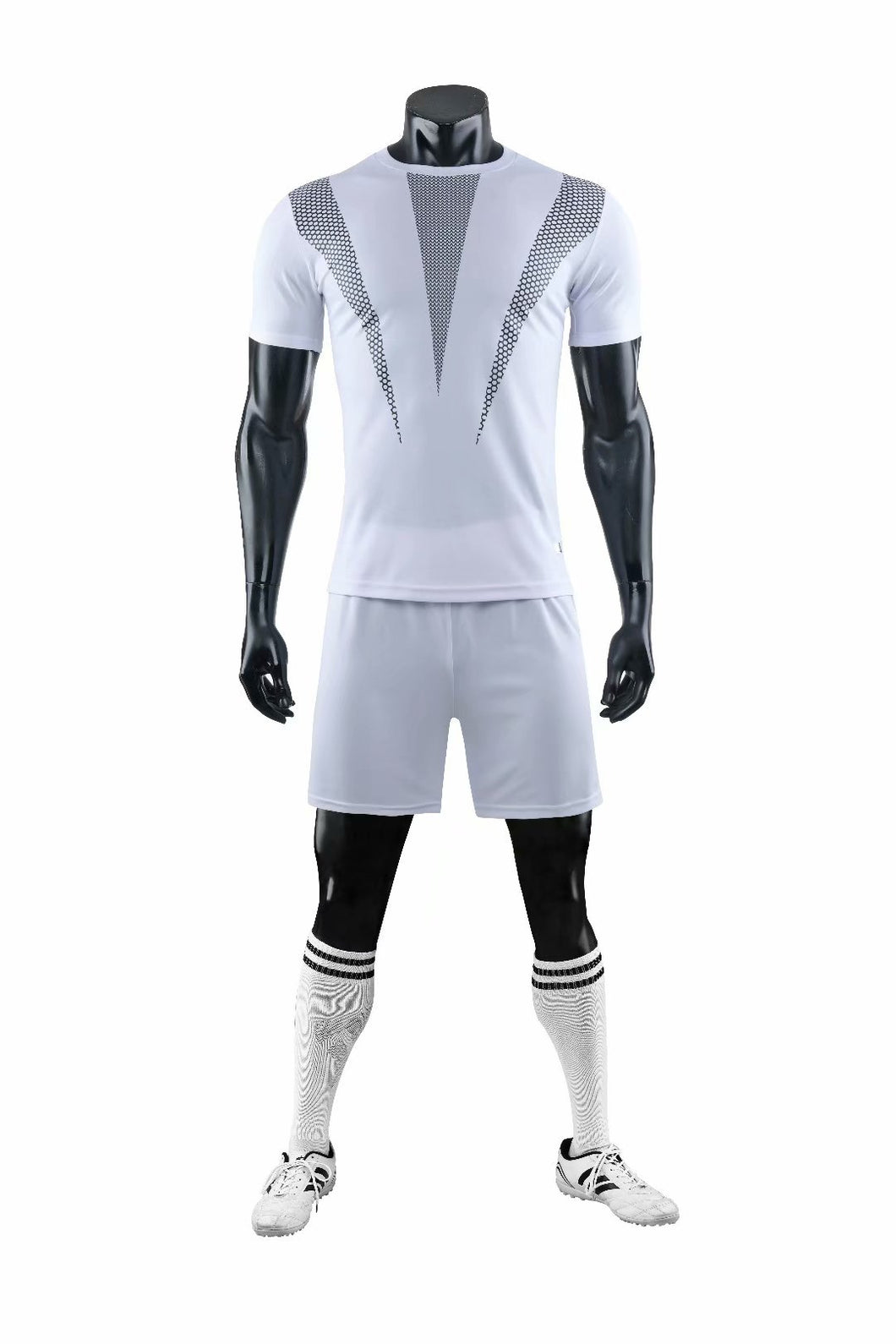 Full Football Kit - White with Grey 3 Stripe Design and Shorts.
