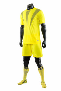 Full Football Kit - Yellow with Grey 3 Stripe Design.