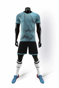 Full Football Kit - 3D Graphic Light Blue Design with Black Shorts