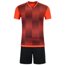 Load image into Gallery viewer, Full Football Kit -  Red 3D Line and Check Stripe Design