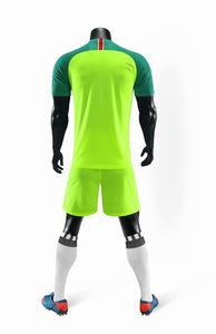 Full Football Kit - Neon Yellow with Green Sleeve.