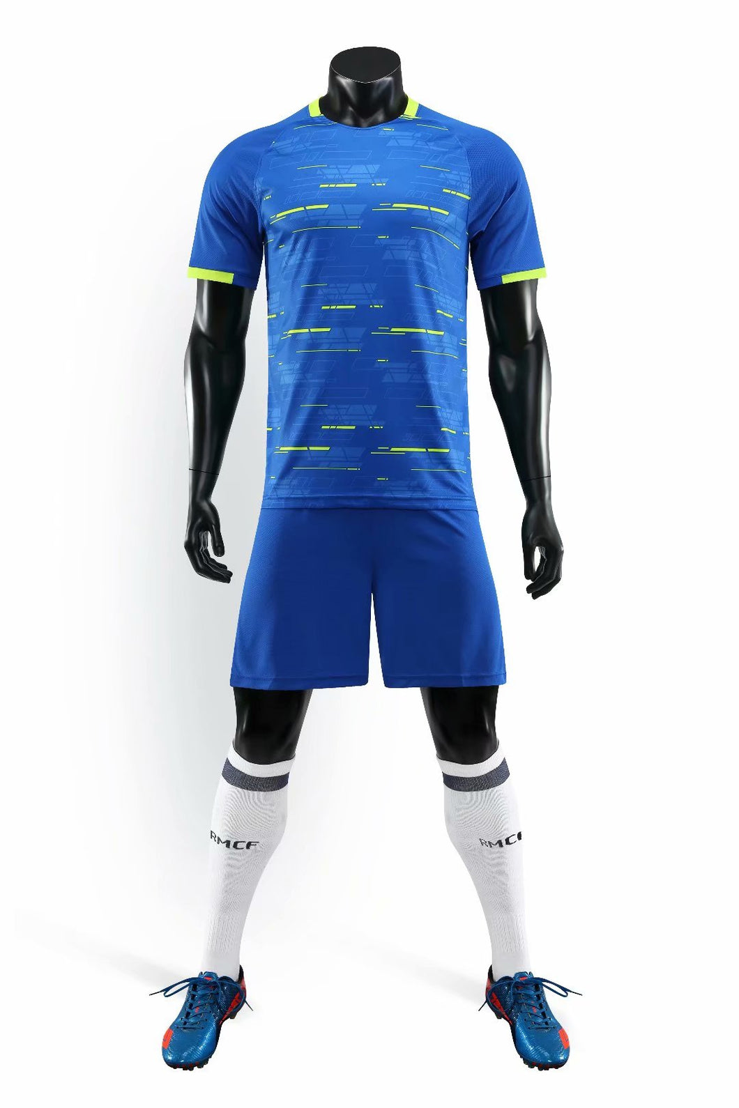 Full Football Kit - Royal Blue with Yellow Trim and Detail.