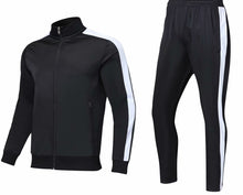 Load image into Gallery viewer, Full Tracksuit -  Black with Side White Trim.