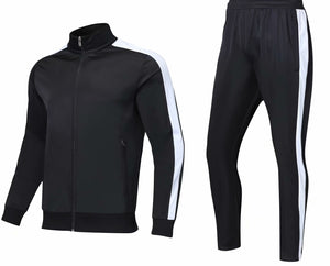 Full Tracksuit -  Black with Side White Trim.