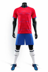 Full Football Kit - Red with Blue Detail and Shorts.
