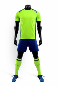 Full Football Kit -  Ninja Turtle Green with Blue Shorts.