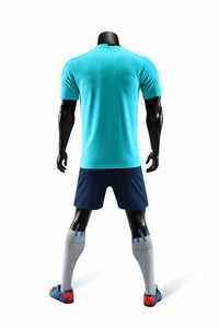 Full Football Kit - Light Blue with White Detail and Royal Blue Shorts.