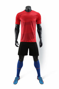 Full Football Kit - Red with Wave Design and Black Shorts