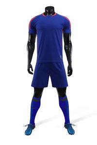 Junior Football Kit - Blue with Red Trim