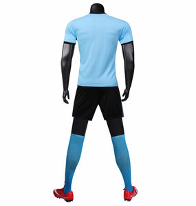 Adidas Full Football Kit Adult sizes only - Baby Blue With Black Checker.