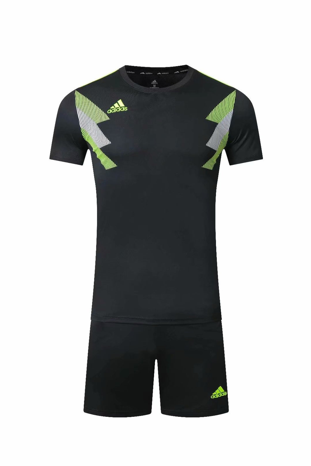 Adidas Full Football Kit Adult Sizes only - Black with Yellow and White Chest Graphic