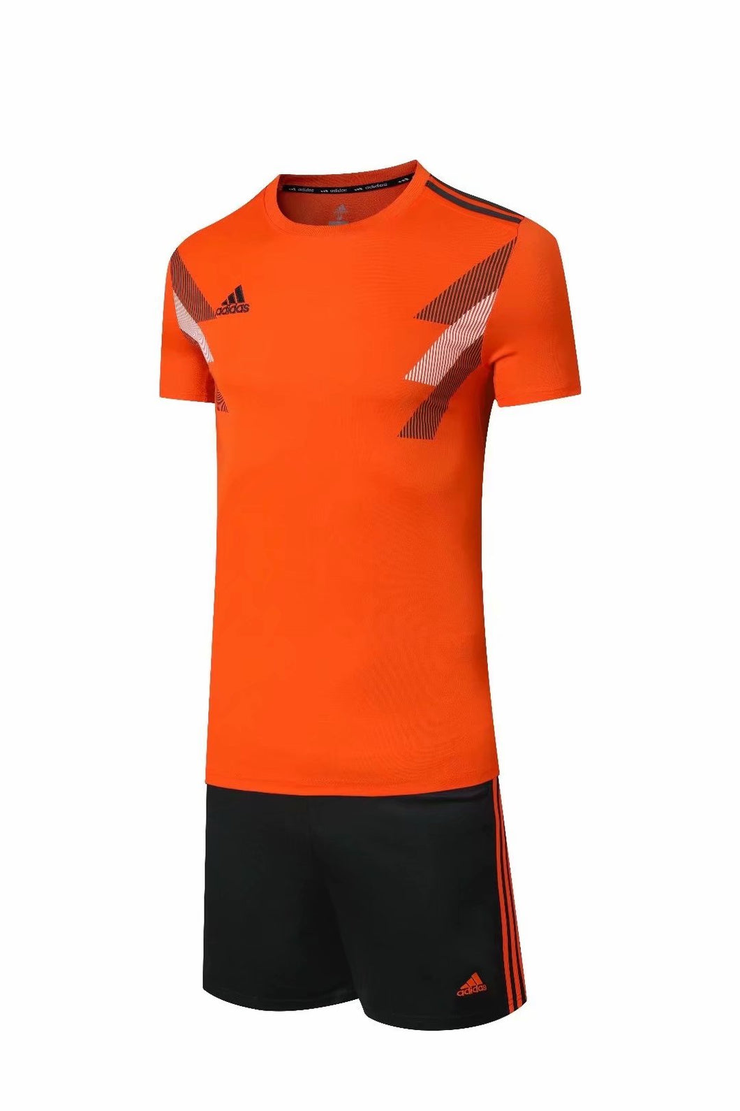 Adidas Full Football Kit Adult Sizes only - Orange with Black and White Chest graphic