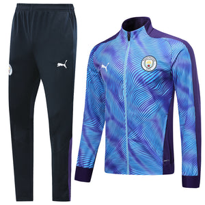 Manchester City Bespoke 2 Tone Blue Tracksuit Top and Bottom