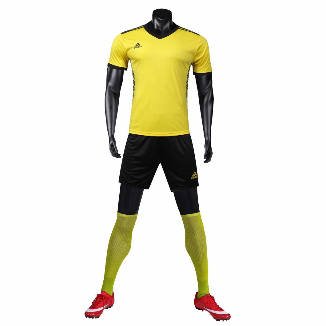 Adidas Full Football Kit Adult Sizes only - Yellow with Black checker