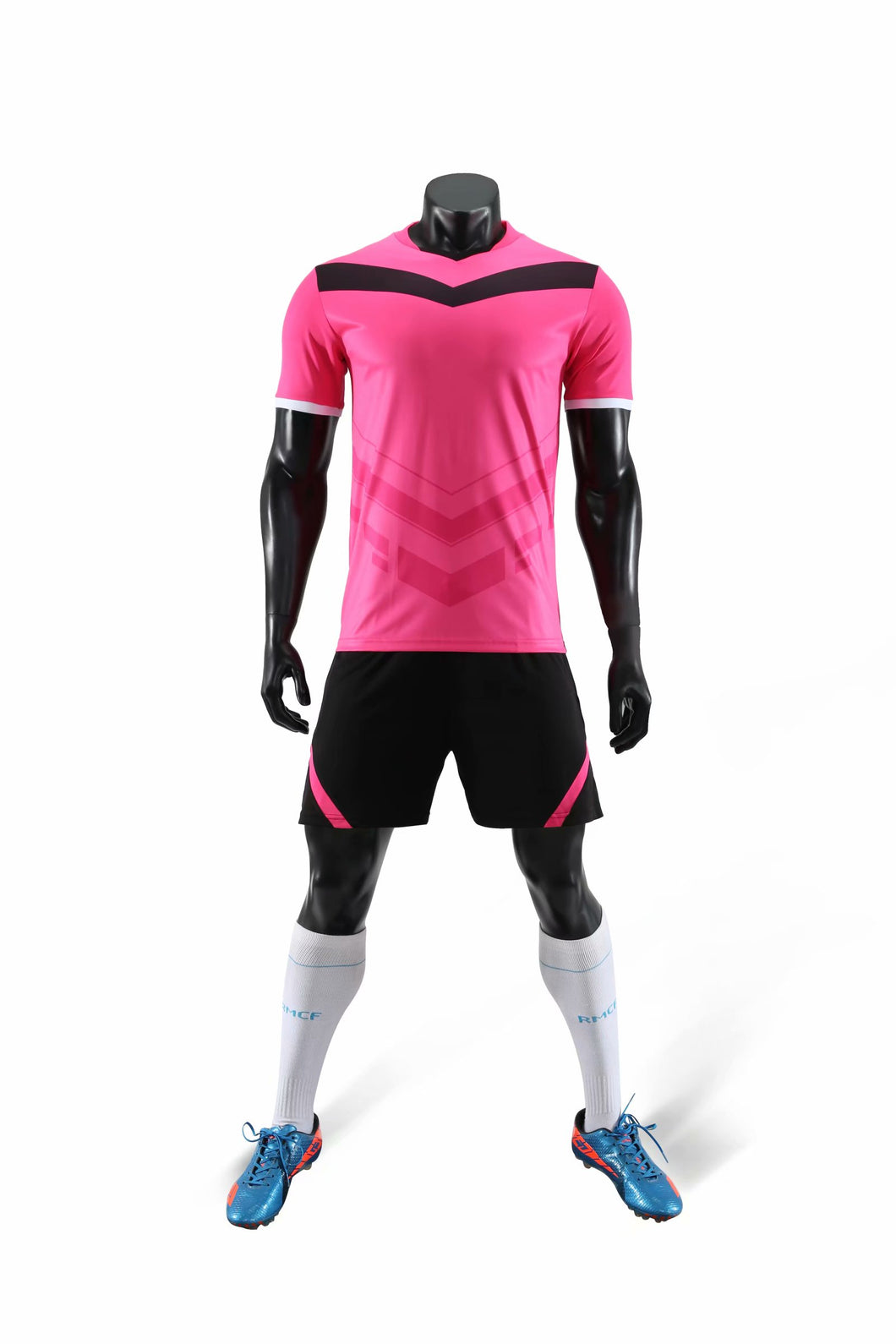 Full Football Kit - Pink with V Design and Black Shorts.