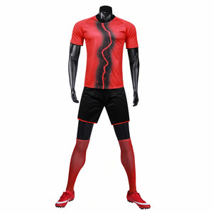Full Football Kit - Red with Lightening Stripe and Black Shorts.