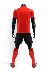 Full Football Kit - Red with White Detail and Black Shorts.