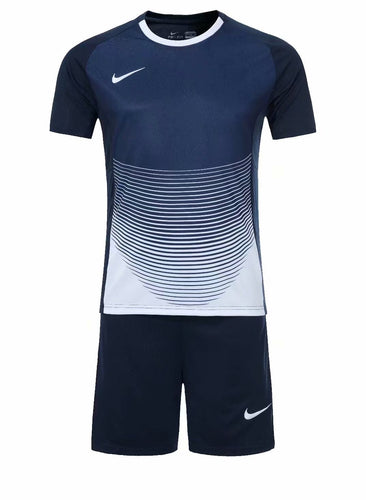 Nike Full Football Kit Adult Sizes only - Deep Blue and White with Horizontal Lines Detail