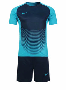 Nike Full Football Kit Adult Sizes only - Light Blue and black with Horizontal Lines Detail