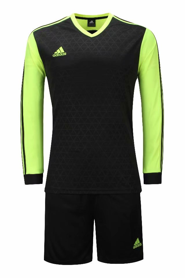 Adidas Full Football Kit Adult Sizes only - Black with Neon Green sleeves