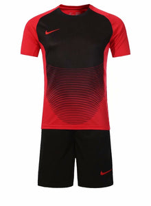 Nike Full Football Kit Adult Sizes only - Red and Black with Horizontal Lines Detail