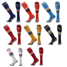 Load image into Gallery viewer, Socks Adult - Black with white, yellow and blue trim