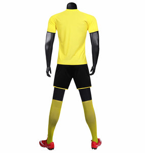 Full Football Kit - Yellow and Black with Lightening Stripe.